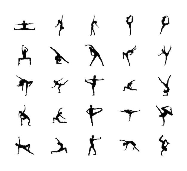 Pack De Silhouette De Pose De Gymnastique Facile Vecteur Premium