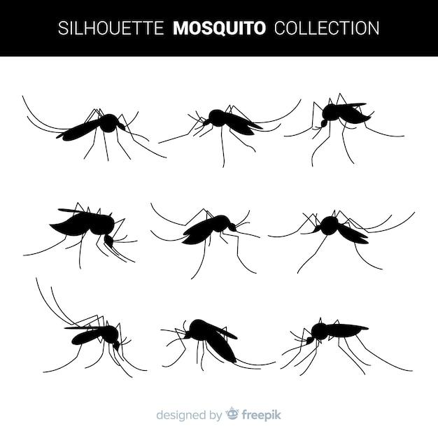 Pack De Silhouettes De Moustiques Dans Un Style Plat Vecteur gratuit
