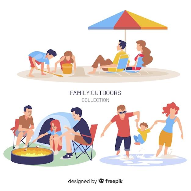 Pack de situations familiales en plein air dessinées à la main Vecteur gratuit