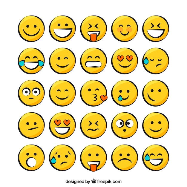 Pack Smiley Jaune Vecteur gratuit