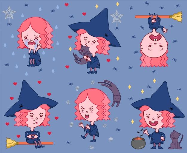 Pack de sorcière mignon halloween Vecteur Premium