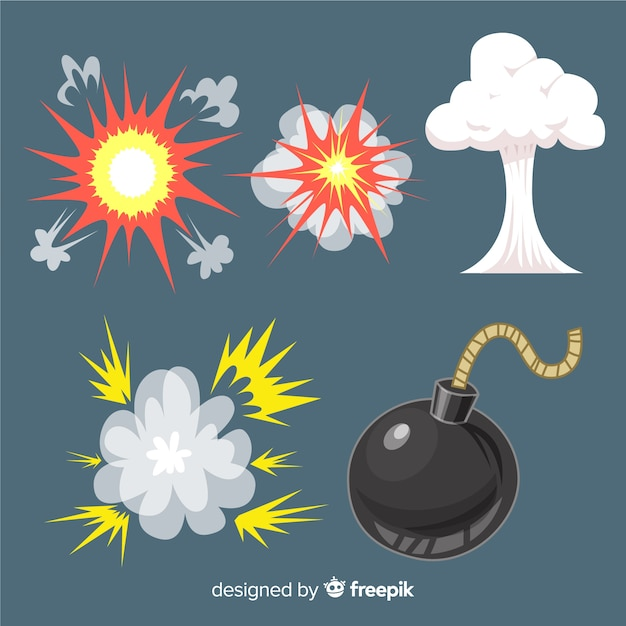 Pack De Style Cartoon D'effets D'explosion Vecteur gratuit