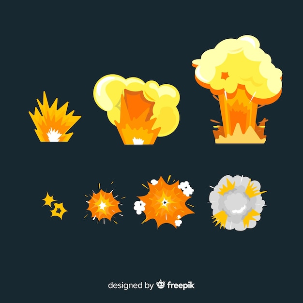 Pack de style cartoon d'effets d'explosion Vecteur gratuit