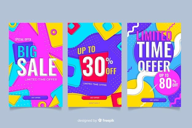 Pack de style coloré bannière memphis Vecteur gratuit
