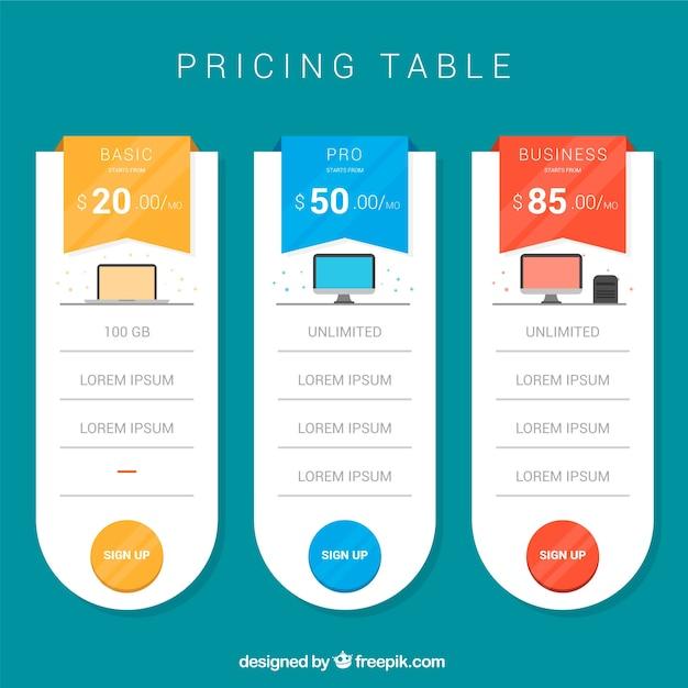 Pack de table de tarification Vecteur gratuit