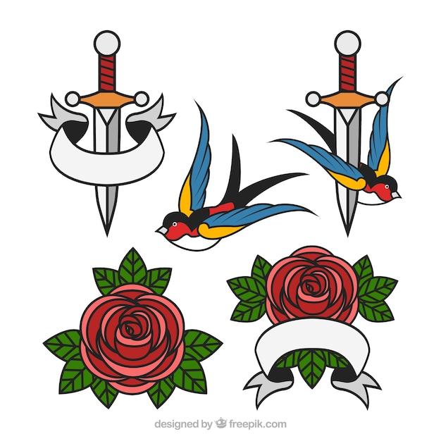 Pack de tatouages à poignard avec des roses et des hirondelles Vecteur gratuit