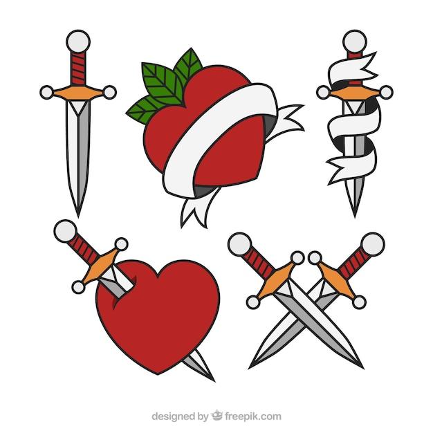 Pack de tatouages pour les coeurs et les poignards Vecteur gratuit