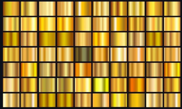 Pack de texture dégradé jaune réaliste. jeu de dégradé de feuille de métal doré brillant Vecteur Premium