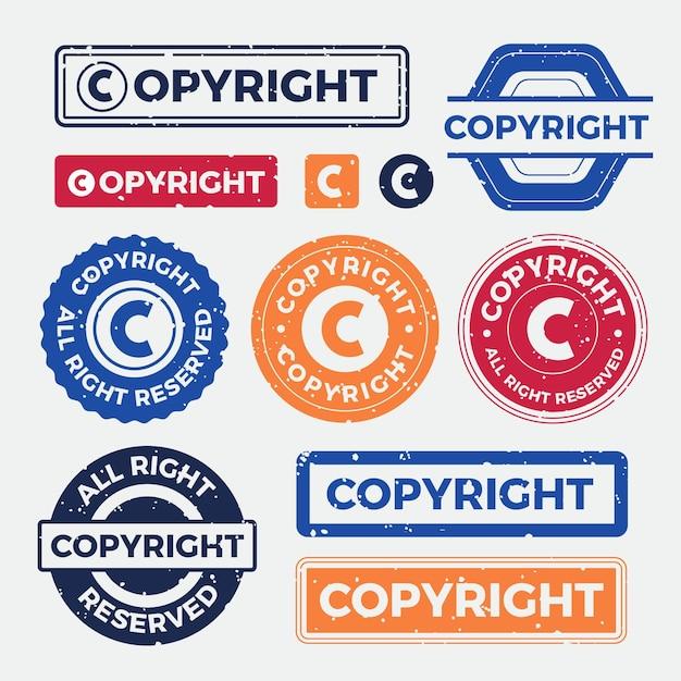 Pack De Timbres De Copyright Vecteur Premium