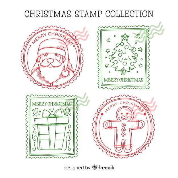 Pack de timbres de noël dessinés à la main Vecteur gratuit