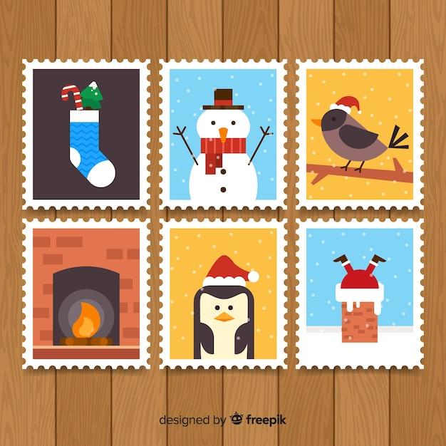 Pack de timbres de noël Vecteur gratuit