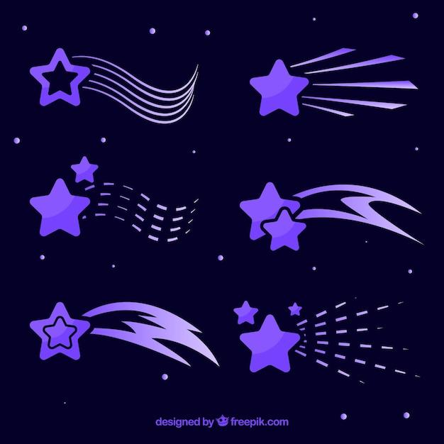 Pack de traînées d'étoiles violettes Vecteur gratuit