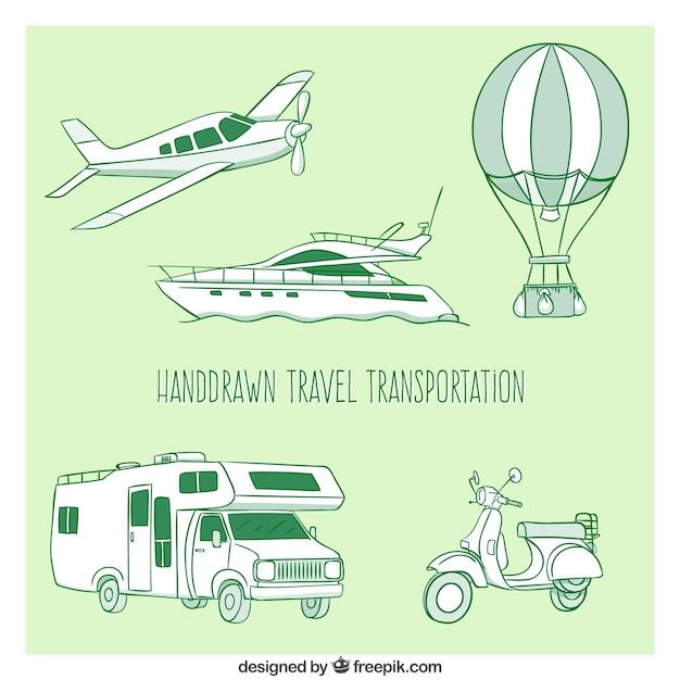 Pack de transport voyage dessiné à la main Vecteur gratuit