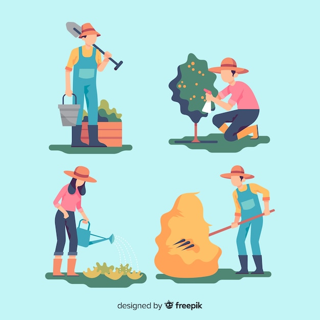 Pack de travailleurs agricoles design plat Vecteur gratuit