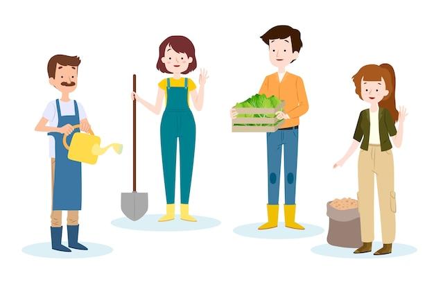 Pack De Travailleurs Agricoles Illustrés Vecteur gratuit