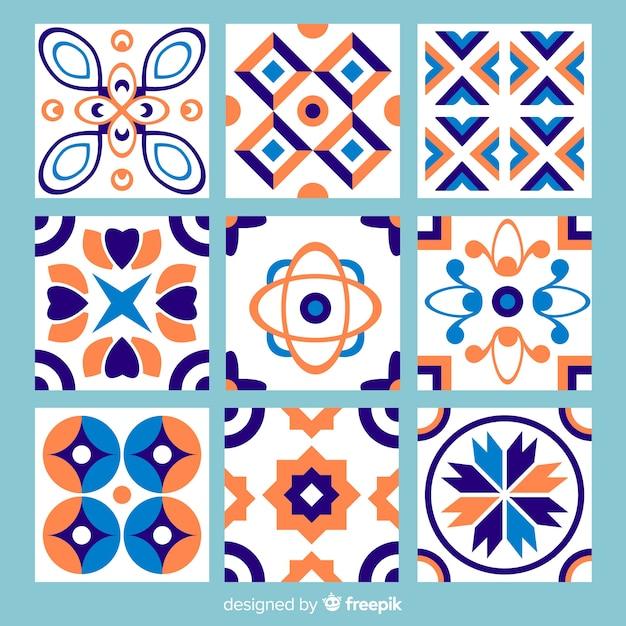 Pack de tuiles abstraites colorées Vecteur gratuit