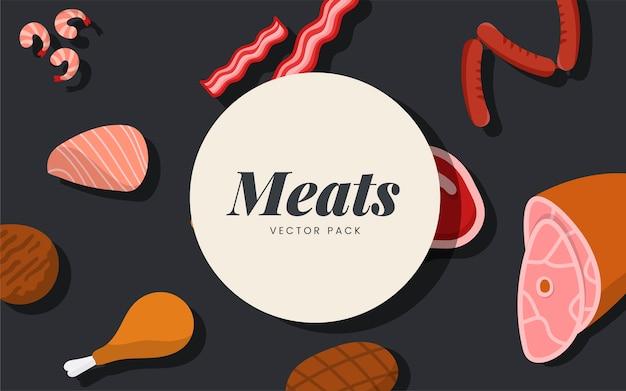 Pack de viande vectoriel sur fond noir Vecteur gratuit