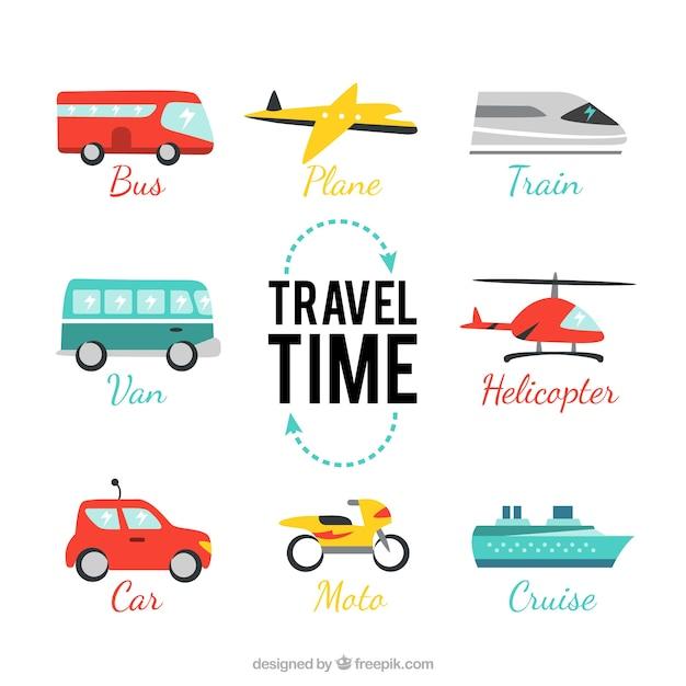 Pack de voyage temps Vecteur gratuit