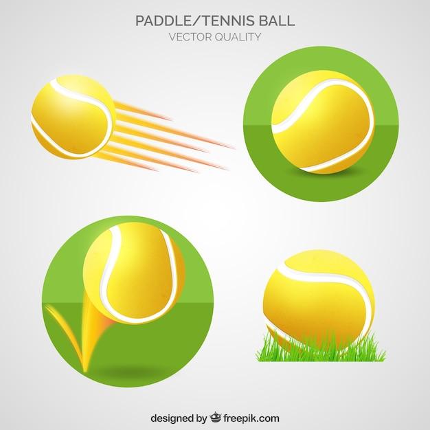 Paddle et balle de tennis Vecteur gratuit