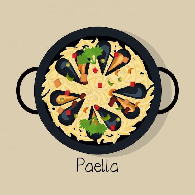 Paella espagnole isolé design d'icône Vecteur Premium