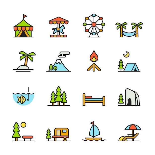 Paforo Icon Set (vacances) Vecteur Premium