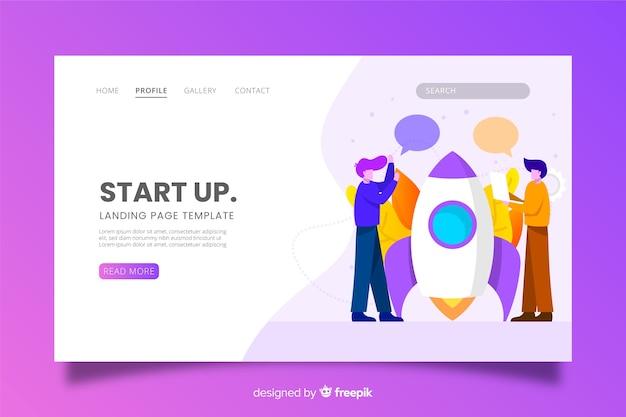 Page d'accueil de démarrage avec des caractères Vecteur gratuit