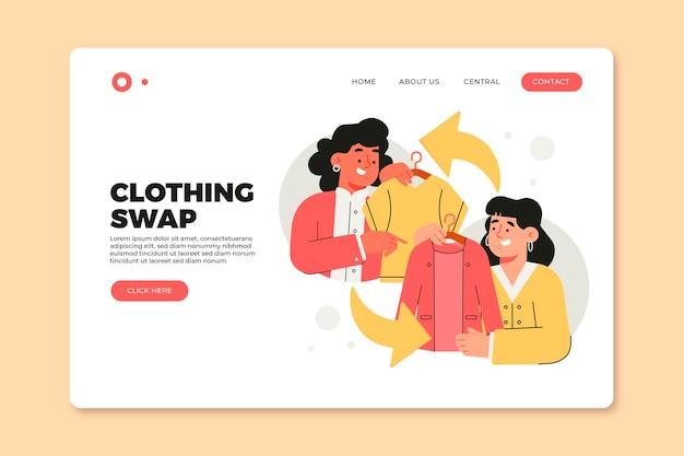 Page D'accueil De L'échange De Vêtements Dessinés à La Main Vecteur gratuit