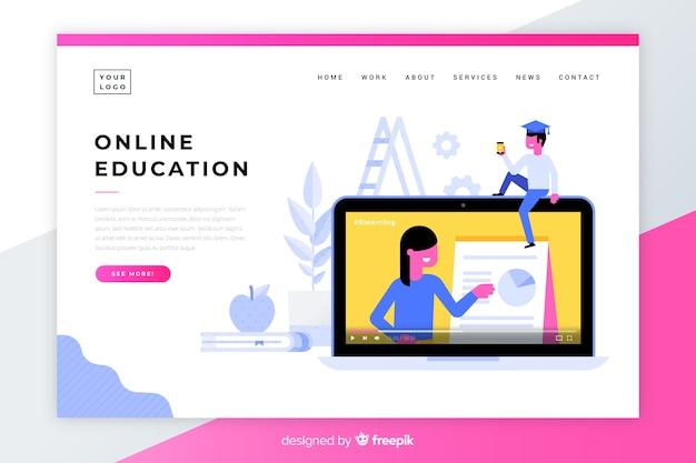 Page d'accueil de l'éducation en ligne Vecteur gratuit