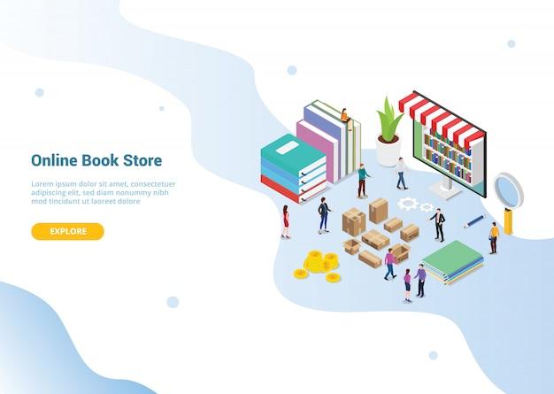 Page d'accueil de modèle de site web. concept de librairie en ligne Vecteur Premium