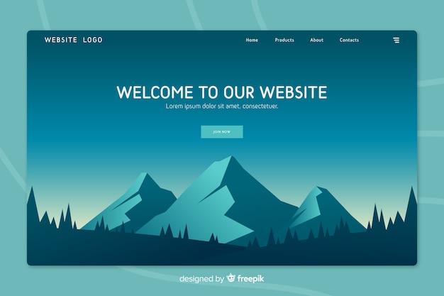 Page d'accueil avec paysage dégradé Vecteur gratuit