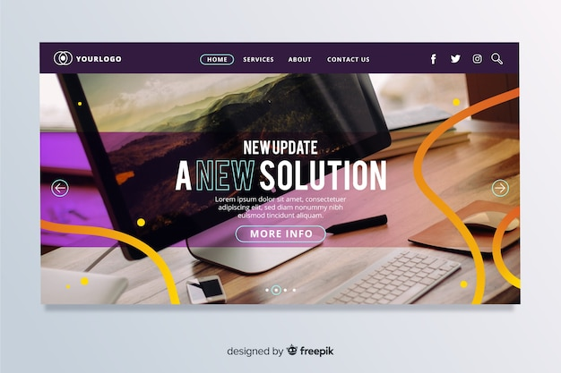 Page D'accueil Avec Technologie Et Ligne De Copie D'espace En Fondu Vecteur gratuit