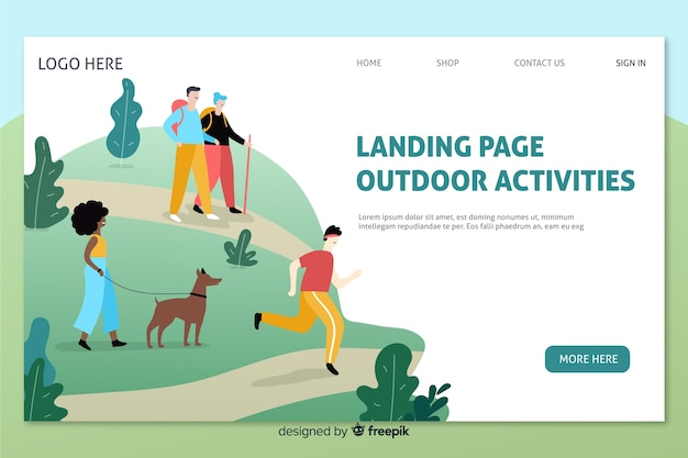 Page d'atterrissage d'activités de plein air Vecteur gratuit