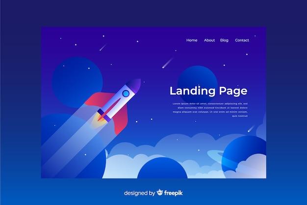 Page d'atterrissage d'affaires avec fusée Vecteur gratuit
