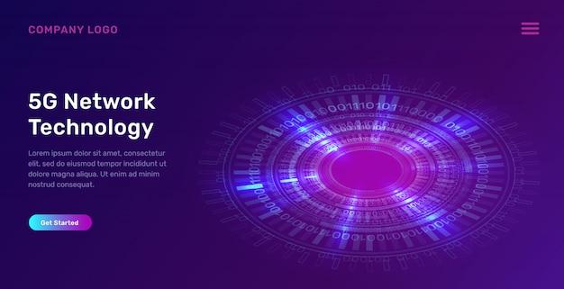 Page d'atterrissage d'anneau de néon bleu brillant, cercle numérique futuriste Vecteur gratuit