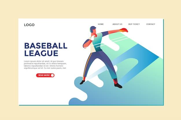 Page d'atterrissage de baseball Vecteur Premium
