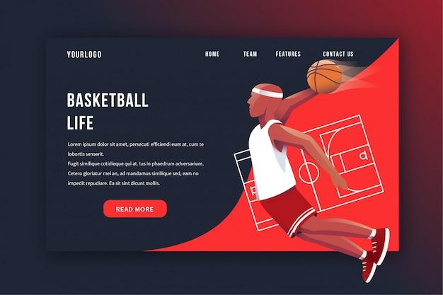 Page d'atterrissage de basket-ball Vecteur Premium