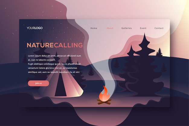 Page d'atterrissage de camping Vecteur Premium