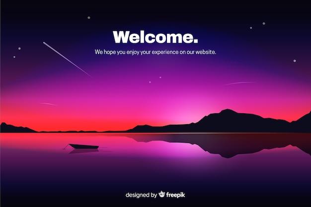 Page d'atterrissage avec ciel de nuit dégradé Vecteur gratuit