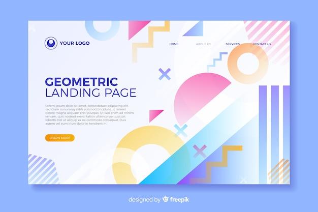 Page d'atterrissage colorée avec des éléments géométriques Vecteur gratuit