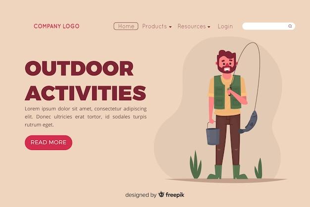 Page d'atterrissage avec concept d'activités de plein air Vecteur gratuit