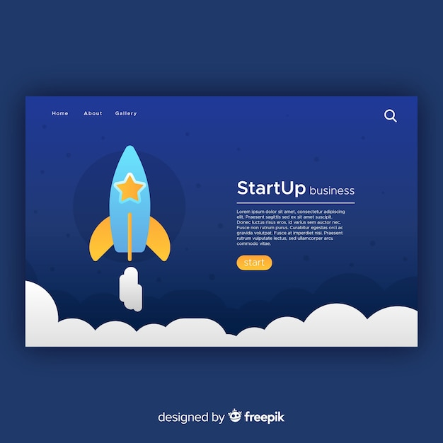 Page d'atterrissage avec concept de démarrage Vecteur gratuit