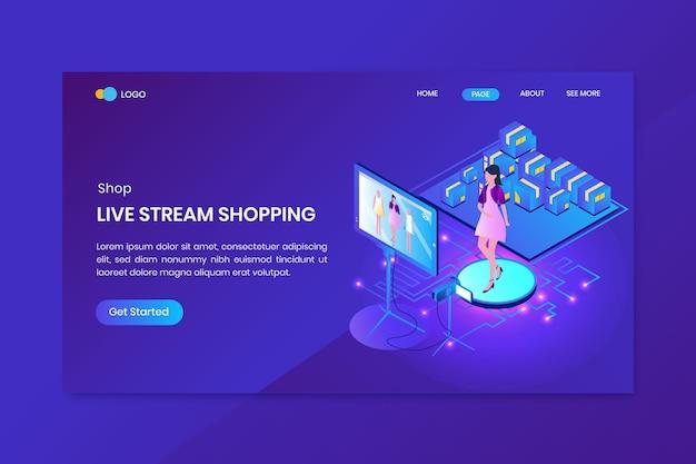 Page D & # 39; Atterrissage Concept Isométrique Livestream Shopping Vecteur Premium