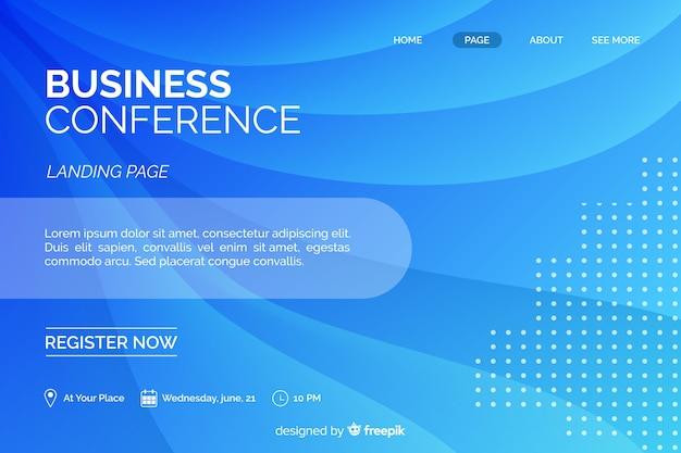 Page d'atterrissage de la conférence d'affaires de formes abstraites plates Vecteur gratuit