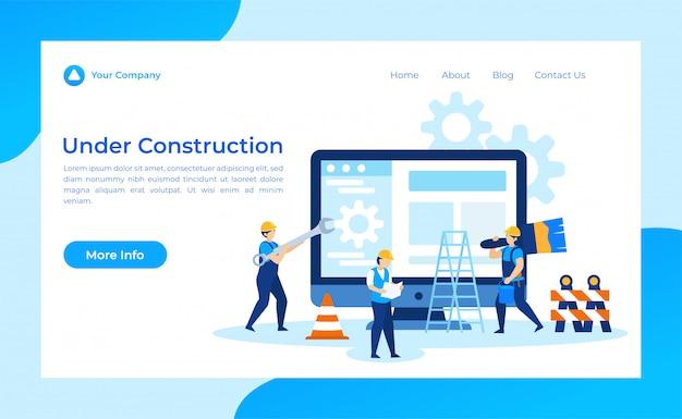 Page d'atterrissage en construction Vecteur Premium