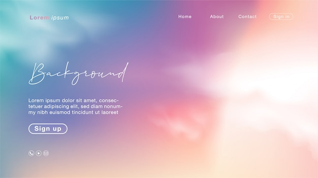 Page D'atterrissage Avec Coucher De Soleil Abstrait Comme Un Ciel De Bonbons. Couleur Licorne Avec Nuage. Vecteur Premium