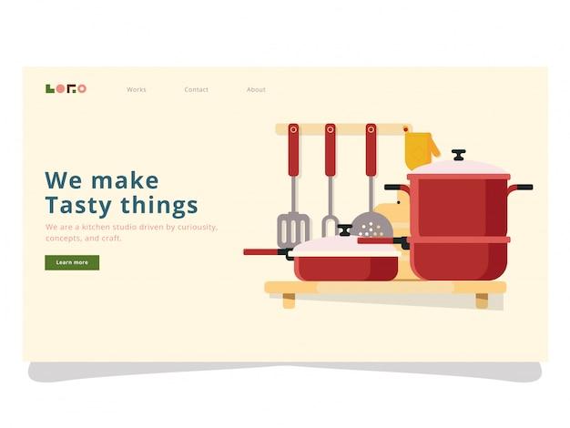 Page D'atterrissage De Cuisine Vecteur Premium