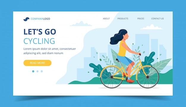 Page d'atterrissage cyclable. femme à vélo dans le parc. Vecteur Premium