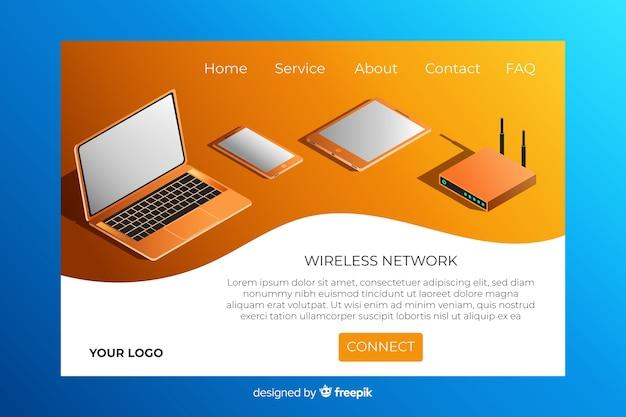 Page d'atterrissage du réseau sans fil isométrique Vecteur gratuit