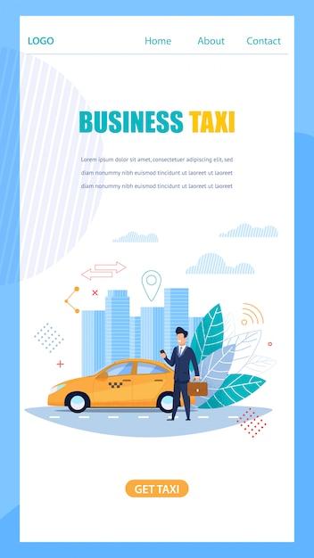 Page d'atterrissage du service en ligne de taxis mobiles Vecteur Premium