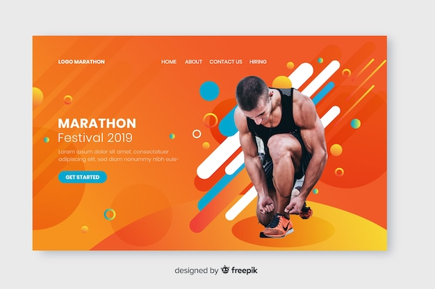 Page d'atterrissage du sport marathon Vecteur gratuit